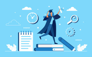 Visual with a animated woman in cap and gown